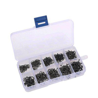 500Pcs Carbon Steel Carp Fishing Hooks Size3-12 With Fishing Tackle Box