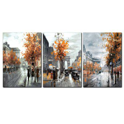 YISHIYUAN 3 Pcs HD Inkjet Paints Abstract Street View Decorative Painting