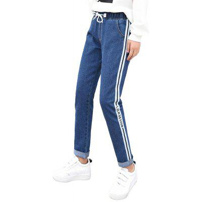 Women'S Elastic Waist Stitching Casual Washed Jeans