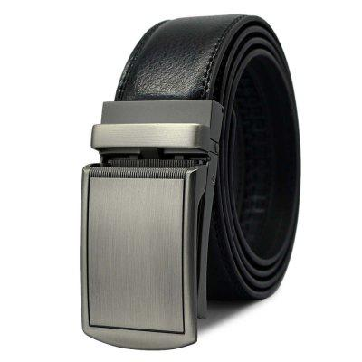 Men's Belt Business Leisure Style Automatic Buckle Solid Color Stylish Accessory
