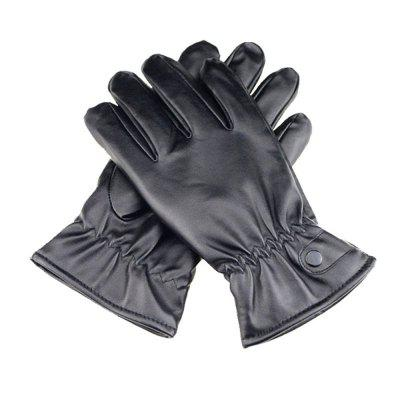 Outdoor Touch Screen Leather Gloves Winter Warm Full Finger Gloves