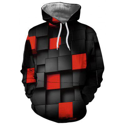 Trendy Fashion Men's Digital Print Embossed Plaid Sweater Hooded Sweater