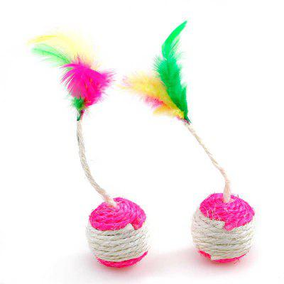 2 Pieces Colour With Feather Hemp Ball Scratch Resistant Mini Cat Toy
