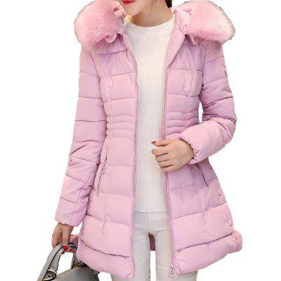 Long Female Overcoat Slim Solid Jackets Winter Coat Portable Parkas