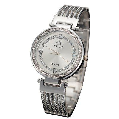 REALY Women Fashion Alloy Watch Chain Watches Beautifully Inserted Dial Watch
