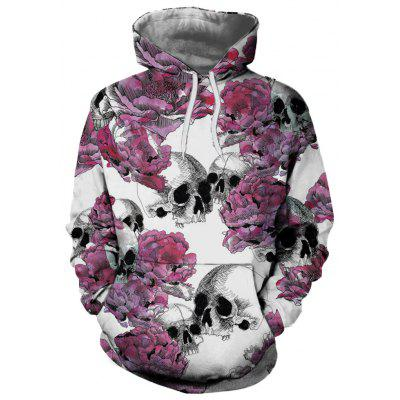 Flower Skull Casual Fashion 3D Printing Men New Hoodie