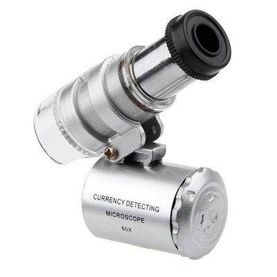 60X Portable Pocket Magnifying Microscope with Lamp