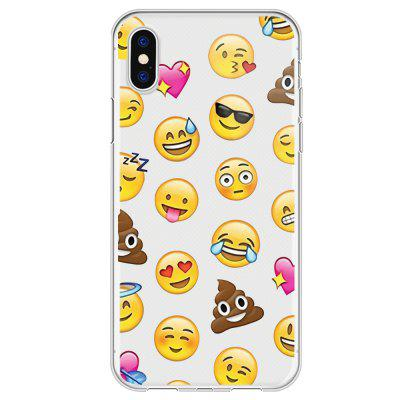 Yellow Face Emojis Transparent Protective Flexible Soft Case for iPhone X