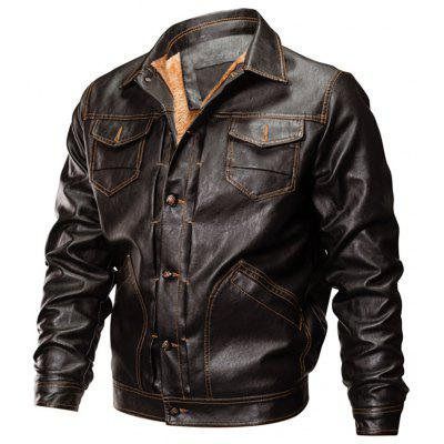 Winter Men's Casual Pu Leather Multi-Pocket Turn-Down Leather Jacket