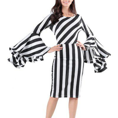An Elegant Evening Gown with Long Sleeved Striped Dress