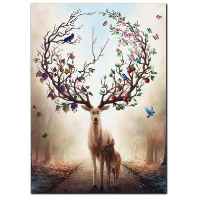 YISHIYUAN 1 Pcs HD Inkjet Paints Fantasy Forest Elk Decorative Painting