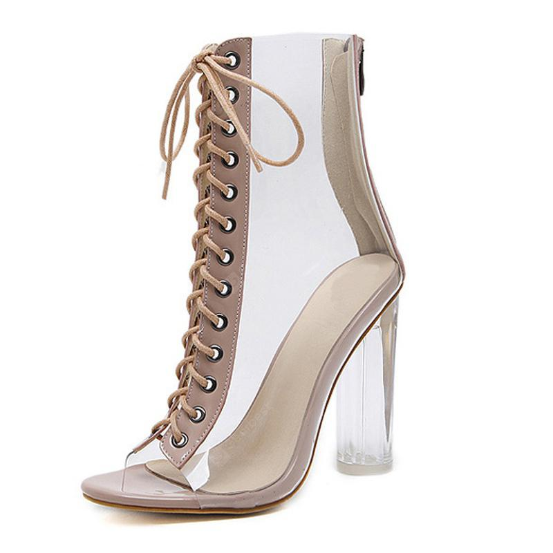 2a85070b9521 Women s Peep Toe Square Heel Shoes European Sandals with Checkered ...
