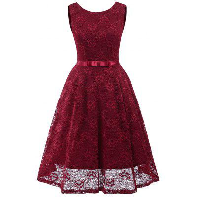 Autumn and Winter Women'S Dress Bow Lace Sexy Big Dress