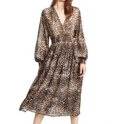HAODUOYI Women's Wild Leopard Chiffon Dress Multicolor