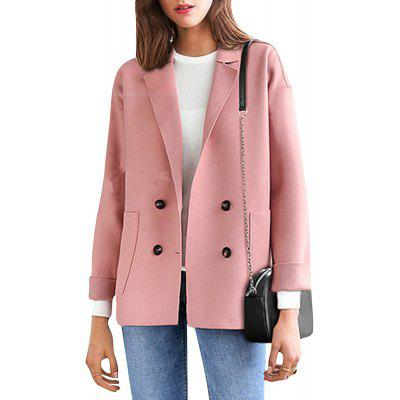 Women's Plus Size Coat Long Sleeve Notched Collar Solid Color Loose Coat