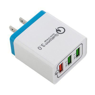 QC3.0 3-port USB Fast Wall Charger Power Adapter for Xiaomi / Huawei / iphone