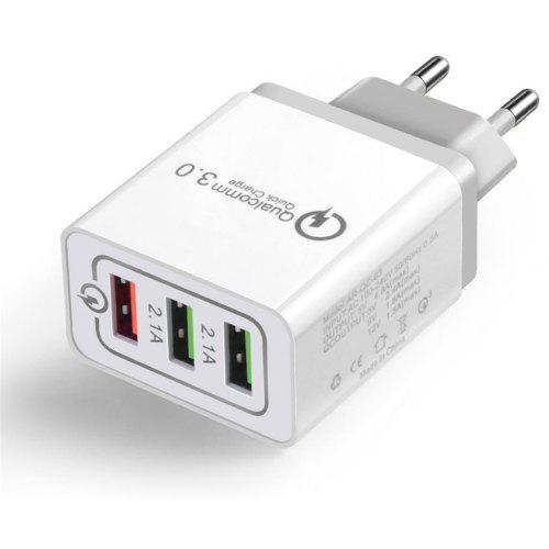 QC3.0 3-port USB Fast Wall Charger Power Adapter for Xiaomi / Huawei /Samsung