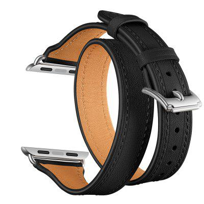 Genuine Leather Double Circle Silver Clasp Band for Apple Watch Series 4 3 2 1