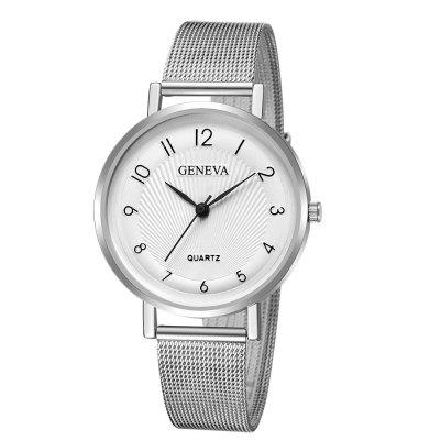 Geneva Women Leisure Trend Stainless Steel Mesh Band Watch