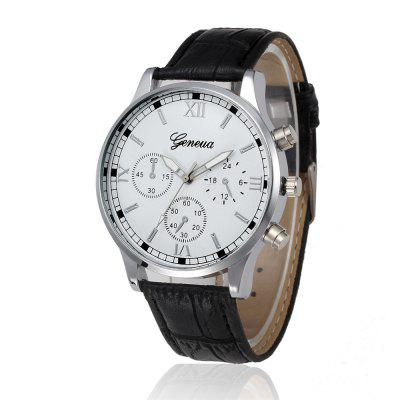 Geneva Men Fashion Business Belt Quartz Watch