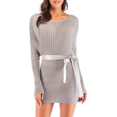 Ladies Fashion Thin Pack Hip Bat Sleeve Knit Sweater Dress