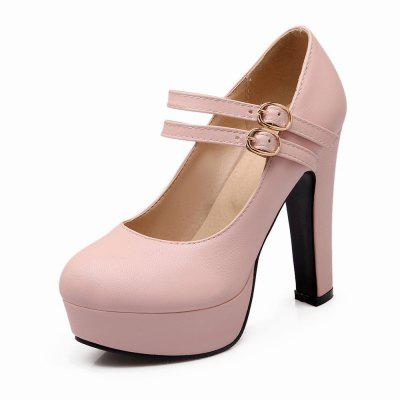 Ultra High Heel Round Head Buckle Belt Shallow Mouth Fashionable Women Shoes