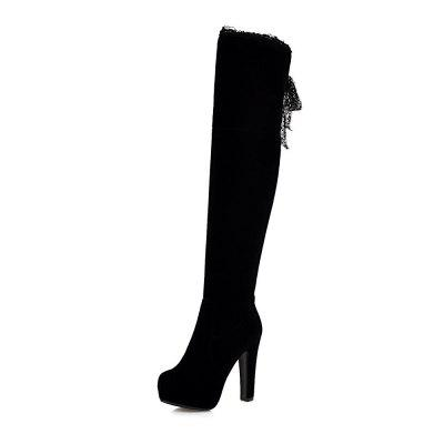 High Heeled Round Head Suede with Overknee Boots