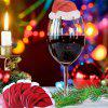 10 Table Cards Santa Claus Christmas Hat Wine Glass Ornaments - RED