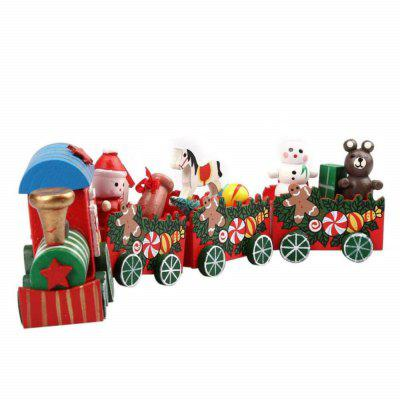 Parrokmon 4 Pieces/set Wood Christmas Xmas Train Decoration Decor Gift