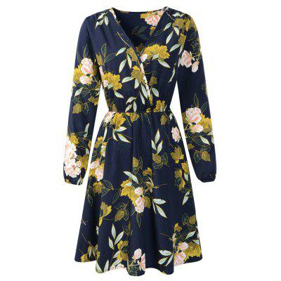 Long Sleeved Printed Dress(Dark Blue)-S/M/L/XL/XXL