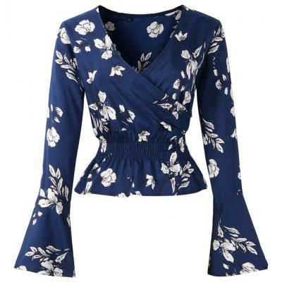 Occident2018 Autumn/ Winter New V-Neck Printed Long Sleeved Chiffon Blouse(Blue)