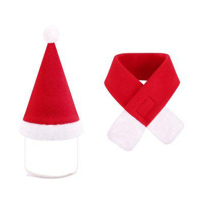 Christmas Cat Dogs Costume Santa Hats Xmas Gift Hat with Scarf Adorable and Warm