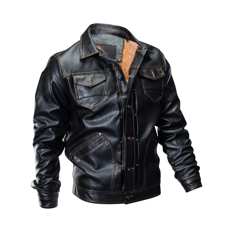 Höstmäns PU Leather Plus Size Jacket