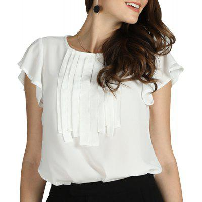SBETRO Female White Shirt Petals Sleeve Ruffle Decoration