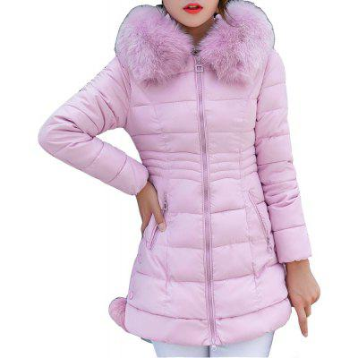 Thickness Warm Parka Hooded Large Fur Collar Female padding coats
