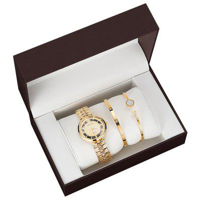 3PCS Female Hollow Surface Alloy  Bracelet Watch Stainless Bracelet Gift Box Set