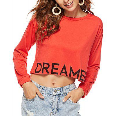 Women's Round Neck Printed Letter Long Sleeve Red T-shirt