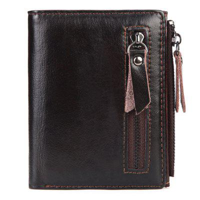 Oil Wax Genuine Leather Men's Wallet Vintage Style Wallets For Men With Zipper