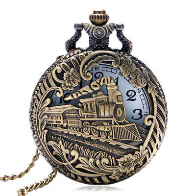 New Fashions Men Harajuku Hollow Train Leisure Quartz Pocket Watch
