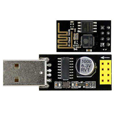 USB to ESP-01 Adatper + Black ESP-01 ESP8266 Wi-Fi Wireless Module