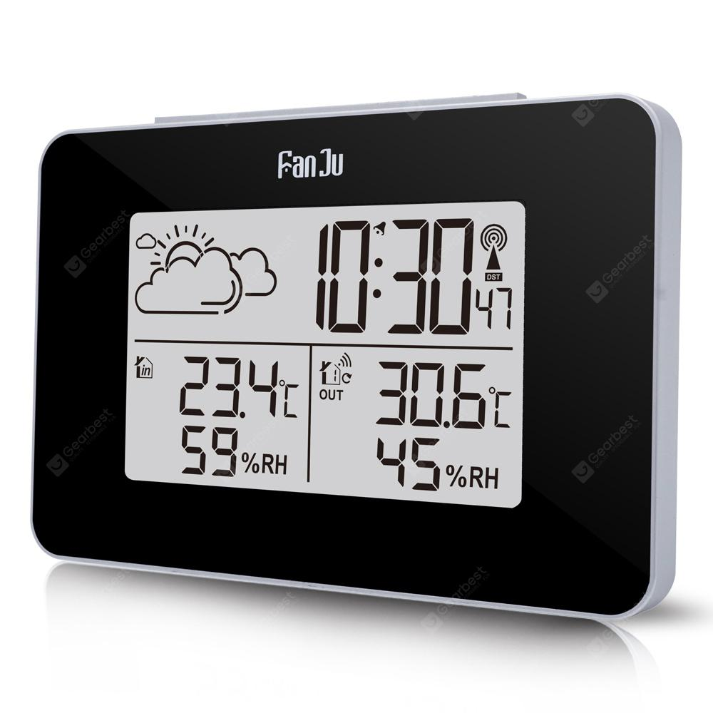 FanJu FJ3364 Weather Station with Alarm Clock Weather Monitor Clock with Indoor - Jet Black