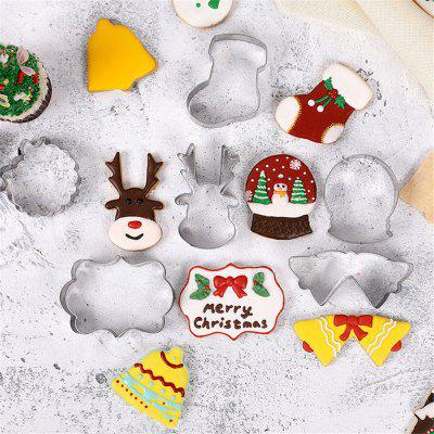 9PCS Christmas Sugar Cookie Baking 3D Stainless Steel Baking Mould