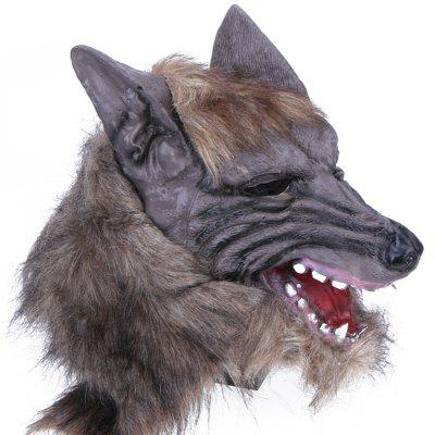 1PCS Halloween Creepy Rubber Animal Mane Werewolf Wolf Head Mask Cosplay Party