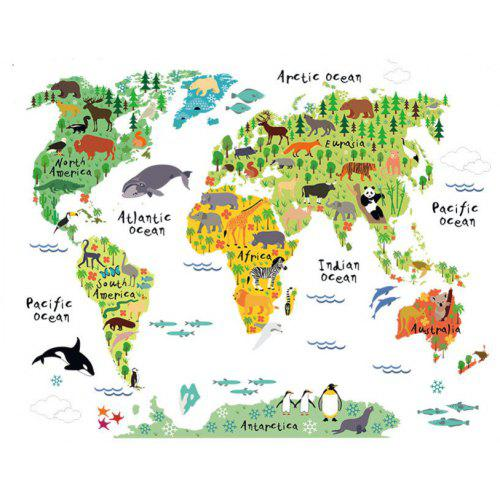 Cartoon Animal World Map Wallpaper Living Room Office Home Decoration  Wallpaper