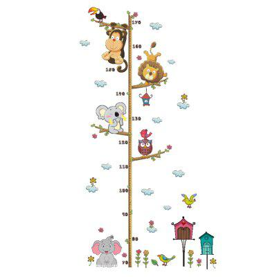 Jungle Animals Lion Monkey Owl Height Measure Wall Sticker For Kids Rooms