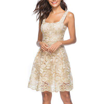 Women's Sexy Strap Embroidery Floral Party Club Sleeveless Dress