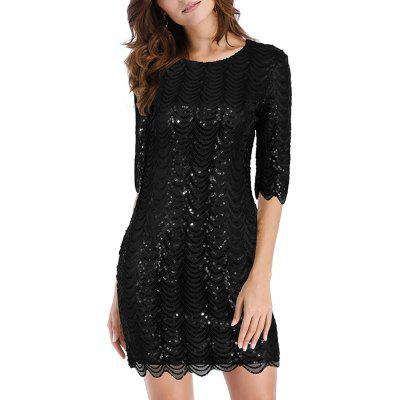 Women's Round Neck Mid-sleeve with Sequins Club Bodycon Slim Dress