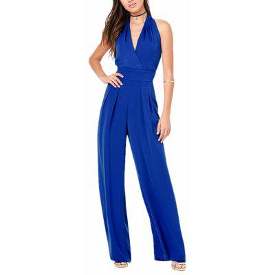 Women's Fashion Deep V Backless Halter Solid Color Plus Size Wide Leg Jumpsuits
