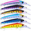 6PCS Bass and Trout Crankbait Minnow Slow Sinking Baits with BBK Hooks Saltwater - MULTI