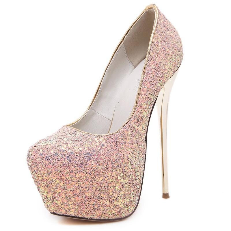 889103972b Women's Round Toe Platform High Heels Club Party Shoes with Glitter Black